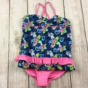 Pink Platinum Floral One Piece Swimsuit Ruffle
